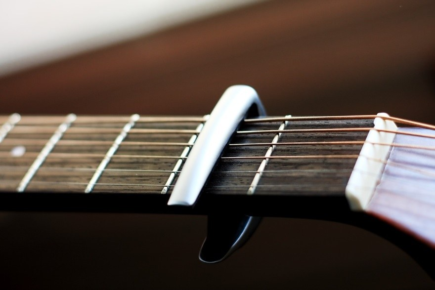 detailed close up of clamp style capo attached to instrument