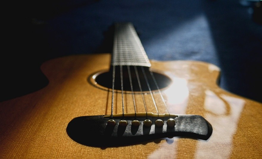naturally lit image of classical guitar body