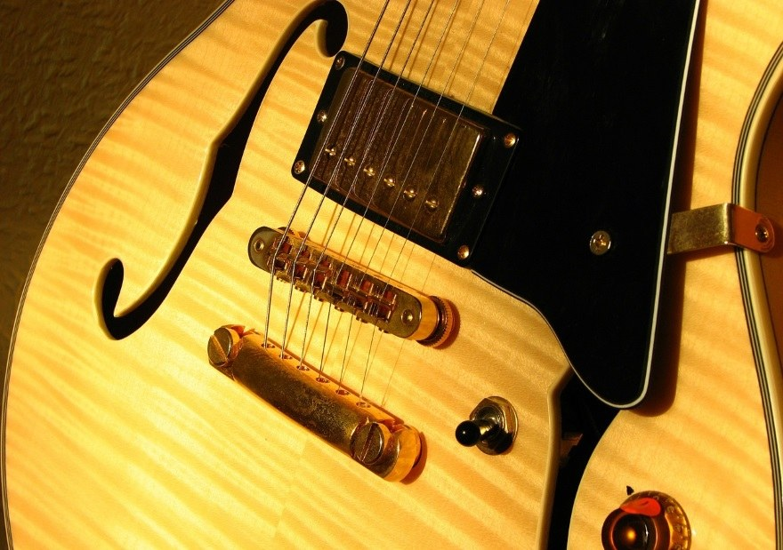 details of electric hollowbody guitar