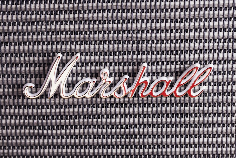 closeup of marshall logo