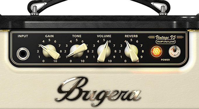 close up of bugera controls in the vintage v5