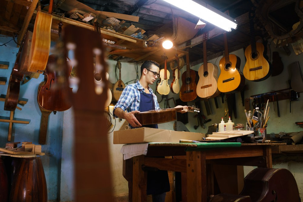 luthier working in his shop